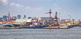 stock photo of shipyard  - Port of Naples coastal cityscape with shipyard dock - JPG