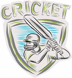 stock photo of bat  - Etching engraving handmade style illustration of a cricket player batsman with bat batting viewed from side set inside shield crest - JPG