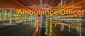 stock photo of ambulance  - Background concept wordcloud illustration of ambulance officer glowing light - JPG