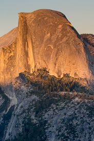 stock photo of granite dome  - Sunset over famous Half Dome - JPG