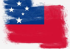 picture of samoa  - Flag of Samoa painted with brush on solid background - JPG