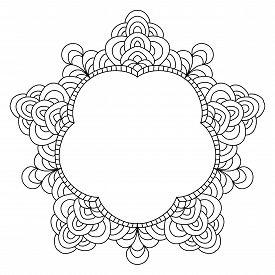 stock photo of mehndi  - Abstract mandala frame mehndi elements  isolated on white - JPG