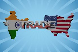 foto of indian flag  - American and Indian map flags with trade text illustration - JPG