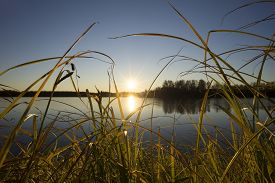 stock photo of siberia  - Beautiful sunset on the river Ob in Western Siberia - JPG