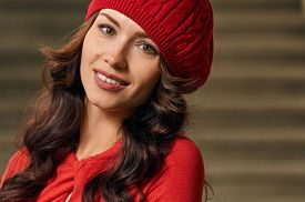 image of beret  - Portrait of a beautiful young woman with background stairs outdoors - JPG