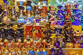 picture of hookah  - Hookah in souvenir shop at Istanbul Turkey - JPG