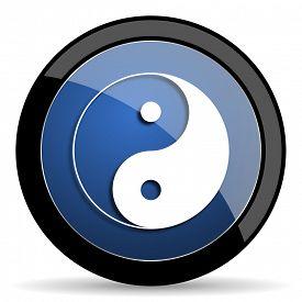 pic of yang  - ying yang blue circle glossy web icon on white background - JPG