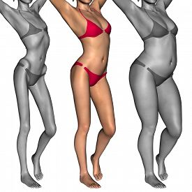 pic of anorexic  - Concept or conceptual 3D woman or girl as fat - JPG
