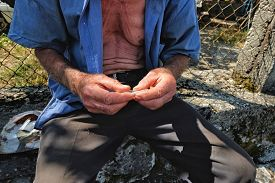 image of albania  - rolling by hands of cigarette without filter with tobacco cultivated on Lake Skadar near the border with Albania - JPG