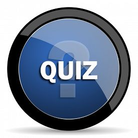 pic of quiz  - quiz blue circle glossy web icon on white background - JPG