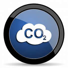 picture of carbon-dioxide  - carbon dioxide blue circle glossy web icon on white background - JPG