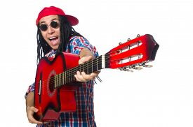 stock photo of dreadlock  - Man with dreadlocks holding guitar isolated on white - JPG