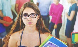 pic of saddening  - Group of Student in University Girl Depressed Sad Concept - JPG