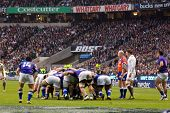 TWICKENHAM LONDON - NOVEMBER 20: English Scrum at England vs Samoa, England playing in white Win 26-