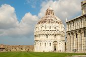 The Baptistry and the Cathedral at Piazza del Duomo in Pisa, Tuscany,Italy poster