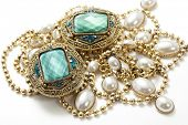 stock photo of white gold  - closeup of glamorous vintage jewelry - JPG