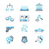 Law and order contour icon-set in blue-gray