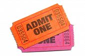 stock photo of raffle prize  - Two Admit One Ticket isolated on pure white background - JPG