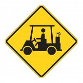 Golf Cart traffic sign warning on white