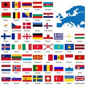 Official list of all European country flags and map.