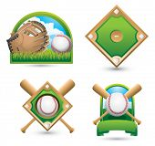 Baseball and glove on grass, baseball diamond, baseball diamond with crossed bats, and baseball with