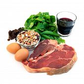 Food sources of iron, including red meat, eggs, spinach, peas, beans, raisins and prune juice.  Isol