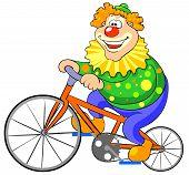 Happy clown riding on a bike.