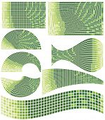 Green mosaic elements for design