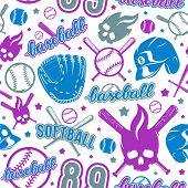 Baseball And Softball Seamless Pattern poster