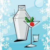 Retro-Stylized Christmas Martini
