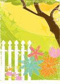 Retro Grunge Flower Garden