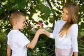 preschool boy is giving a rose flower to his girlfriend