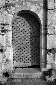 Entrance to the Fort de L'Ile Sainte-Marguerite, Cannes, France - contrasty black and white