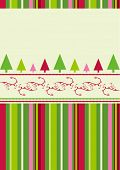 Christmas trees design with simplistic retro shapes on stripes and swirls pattern