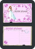 grunge vintage invitation for bridal shower with bride, butterfly and swirls and scrolls - front and back
