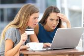 Worried Women Having Problem Buying On Line poster