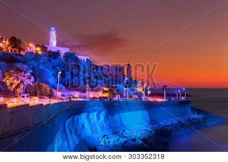 poster of Old Jaffa At Sunset,  Tel Aviv Yafo, Tel Aviv Coastline View from old Jaffa