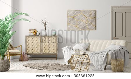 poster of Modern Interior Of Living Room With Sofa, Door And Cabinet, Home Design 3d Rendering
