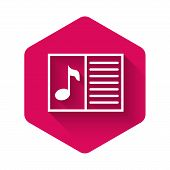 White Music Book With Note Icon Isolated With Long Shadow. Music Sheet With Note Stave. Notebook For poster