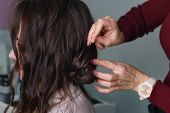 Preparation Of Bride. Hair Creation Process A Brown-haired Person Girl, Side-view Long Hair, Hairsty poster