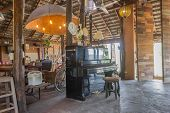 Piano And Props In Country Loft Interior Design Room. Interior Design Room Include Wood Table And Ch poster
