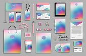 Corporate Identity Template Set With Abstract Colorful Holographic Background poster