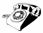 Old Rotary Phone Vector (One Color)