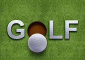 Palabra de golf sobre la hierba verde