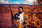 Autumn Hunting Season. Hunter With Shotgun Gun On Hunt. Autunm Hunting. Hunting In America. Mountain poster