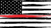 Grunge Usa Flag With A Thin Red Line - A Sign To Honor And Respect American Firefighters. poster