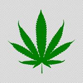 Cannabis Leaf Green Icon. Medical Plant. Natural Dope Isolated On White Background. poster