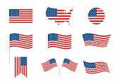 Usa Independence Day 4th Of July Holiday. United States Of America Flag. Independence Day Elements,  poster