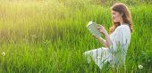 Beautiful Girl In Field Reading A Book. The Girl Sitting On A Grass, Reading A Book. Rest And Readin poster