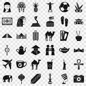 Tourism Icons Set. Simple Style Of 36 Tourism Vector Icons For Web For Any Design poster